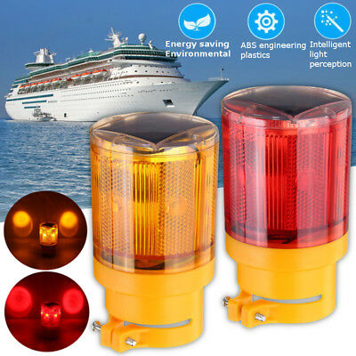 Voiture 6 LED Balise Lampe Solaire Strobe Voyant Gyrophare Lumière Amber/Rouge