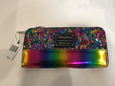 Loungefly Disney Parks EXCLUSIVE MICKEY MOUSE RAINBOW GLITTER Zip Wallet