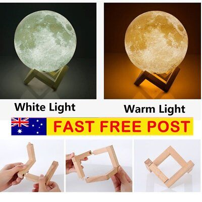 Dimmable 3D Magical Moon Lamp USB LED Night Light Moonlight Gift Touch Sensor AU