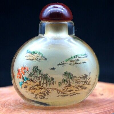 Chinese Handmade glass Inside painted Ancient landscape Snuff Bottle
