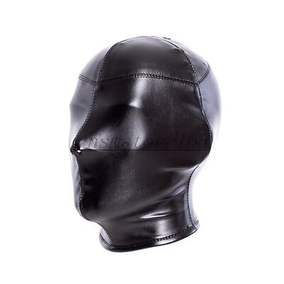 Soft PU Leather Full covered Hood Head Mask Headgear Bondage nose holes Lace up