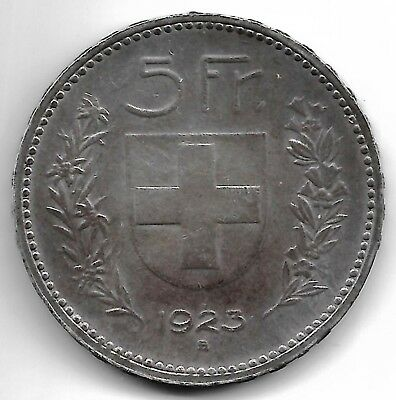 Switzerland 1923 B 5 francs silver coin