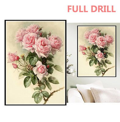 AU Full Drill Pink Roses 5D Diamond Painting Bee Embroidery Cross Stitch DIY EZ