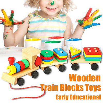AU Wooden Train Building Block Children Educational Toy Stacking Block Wood Gift