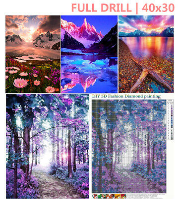 Full Drill Forest Lake Landscape 5D Diamond Painting Cross Stitch Home Decor EZ