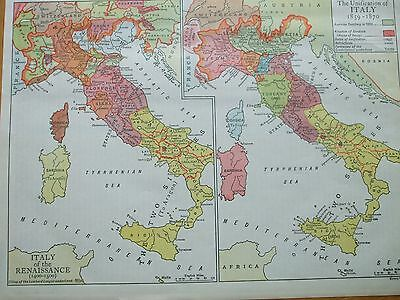 Antique Print 1926 Map Unification Of Italy 1859-1870 & Ranaissance 1400-1500