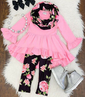 US Toddler Kid Baby Girl Ruffle Clothes Tops +Floral Leggings Cotton Outfits Set