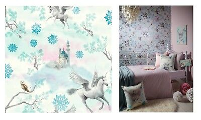 Arthouse Fairytale Ice Blue Kids White Pink Horse Wallpaper 667800