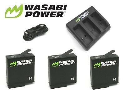 Wasabi Power Batteries and Dual/Triple USB Charger Kit for GoPro HERO 3,3+,4,5,6