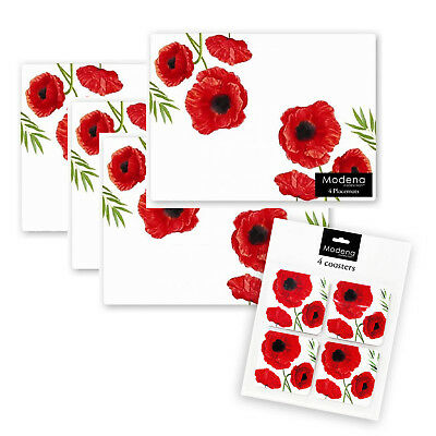 Set of 8 Red Poppy Floral Design Placemats and Coasters Table Mats Home Kitchen