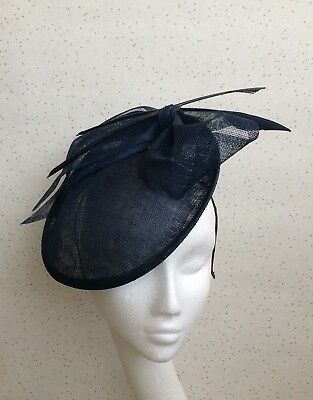 Navy Wedding Fascinator Navy Disc Hatinator Blue Races Mother Bride Ascot Hat