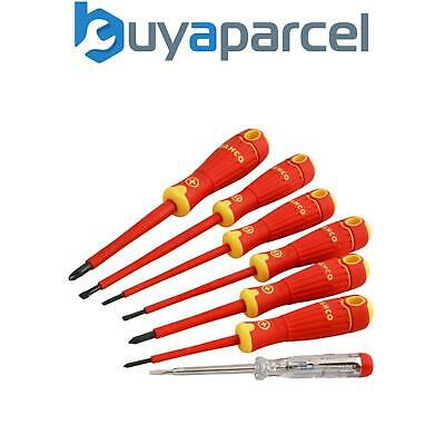 Bahco B220.027 Set of 7 Insulated VDE Screwdrivers Slotted / Pozi / Mainstester