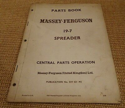 Massey Ferguson 19-7 spreader  parts book