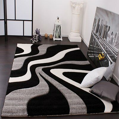 Modern Rug Grey Black White Abstract Contour Cut Mat Small Large Room Carpet New