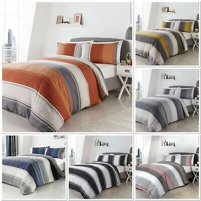 Fusion Betley Wide Stripe Duvet Cover Bedding Set Blue,Spice, Grey, Ochre or B&W