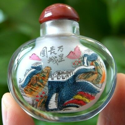 Chinese Collectible Handmade inside painted Great Wall glass snuff bottle