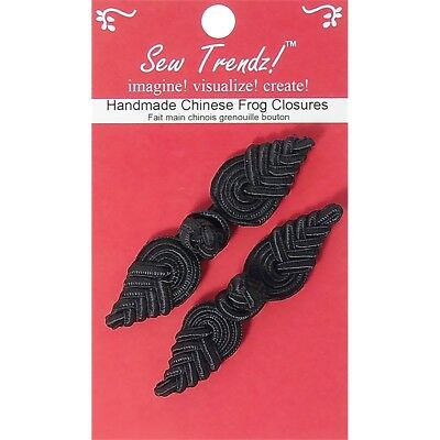 "Vision Trims Handmade Chinese Frog Closure 2-3/4""x3/4"" 2/pkg-black Pineapple"