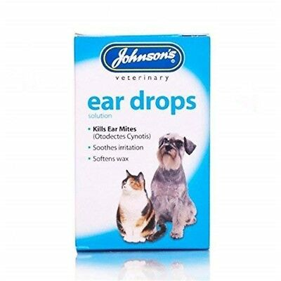 Johnsons Veterinary Products Ear Drops - Dog Cat Mites Kills 15ml Wax
