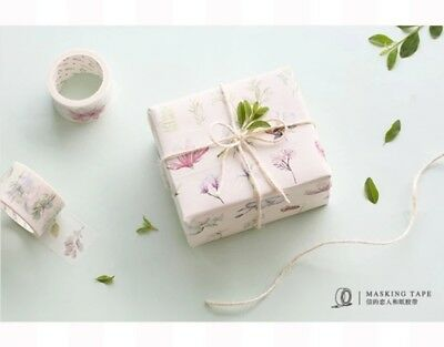 Wide Washi Tape Tree Flower Birds 30mm wide sold by meter