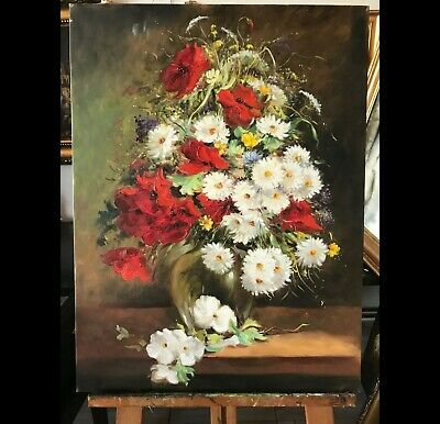**19th Century Dutch Old Master Still Life Of Flowers Antique Painting 60x80