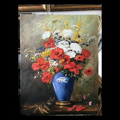 *19th Century Antique Beautiful Still Life Painting bouquet wildflowers 70x90
