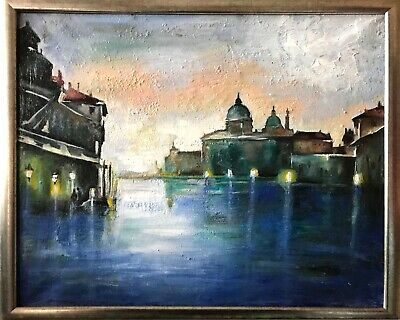 FRAMED IMPRESSIONIST Italian Abstract oil painting City Landscape