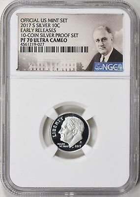 2017-S ROOSEVELT SILVER PROOF DIME 10c EARLY RELEASES NGC PF70 ULTRA CAMEO