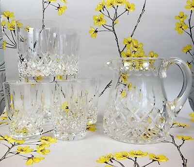Superb STUART Knightsbridge Cut Crystal Glass JUG & 6 TUMBLERS SET. Whiskey etc