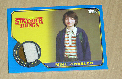 2018 Topps Stranger Things Mike Wheeler authentic costume relic card BLUE 10/10