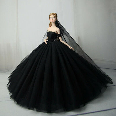 Black Fashion Royalty Princess Dress/Clothes/Gown+veil For Barbie Doll S557