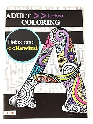 ADULT COLORING BOOK Alphabet Letters Relax and Rewind ...