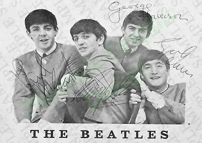 The Beatles Reprinted-Signed Photo Poster | Picture Print Wall Art | A4 Music