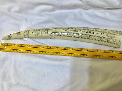 "Scrimshaw Faux Resin The Bark Cavalier Of New Bedford 16"" Long 1 Pound 11 oz."