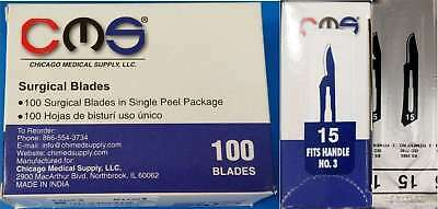 CMS #15 Surgical Podiatry Medical Blades Scalpels Stainless Steel 100/BX Sterile
