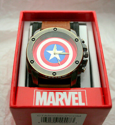 Marvel Comics Avengers Captain America Shield Watch Mens New Box Cloth Strap
