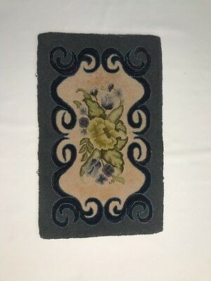 "PV02559 Folk Art Hooked Rug- 19"" x 31"" Blue Scroll w/ Yellow Green Floral Design"