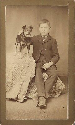 Antique CDV Photo Boy and Dog ~Image~Photo~Pet