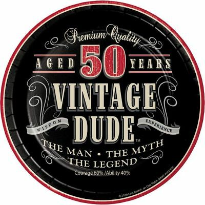 Vintage Dude 50th Birthday 7 Inch Paper Plates Fifty The Man Myth Legend Decor