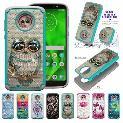 For Moto Z3/Z3 Play shockproof owl glitter hybrid jewelled phone case diamonded
