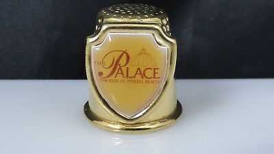Vintage Thimble The Palace Theater At Myrtle Beach SC Souvenir Gold Tone Metal