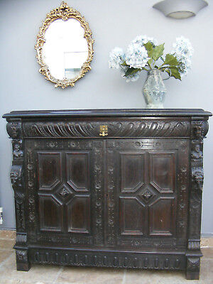 Antique gothic revival carved oak hall cabinet / sideboard / buffet / cupboard