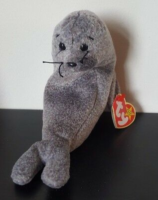 b93a827a9fd Ty Beanie Baby Slippery The Seal Retired 1998 Plush Toy Cuddly Grey Seal