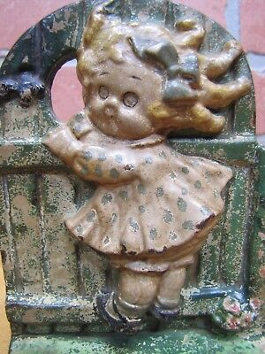 Antique HUBLEY GIRL on FENCE Cast Iron Bookend Doorstop GGD GRACE G DRAYTON