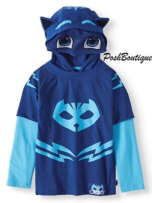 NWT LICENSED PJ Masks Catboy Boy Girl Costume Hoodie T Shirt Mask 2T 3T 4T 5 6 7