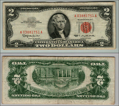1963 Series $2 Dollar Bill Red Seal United States Currency  LOT Z614
