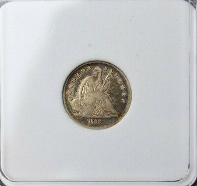 1838 Large Stars Seated Liberty Dime Silver 10C~Nice Dark Age Toning~Xtra Fine~
