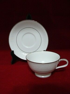 Noritake Of Japan Cup & Saucer - Buckingham Platinum Pattern 6438