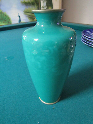 """Japanese Enamel Sterling Silver Cloisonne Green Ando 7"""" Vase Peony Early Showa"""