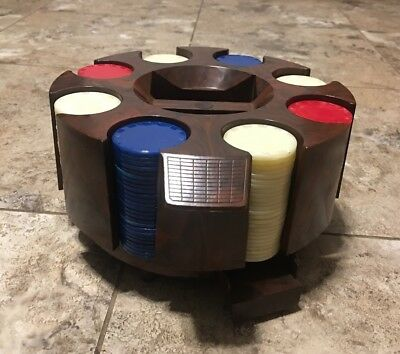 Vintage Poker Chip Holder Carousel Dispenser Rack with Card Deck Slots Plastic