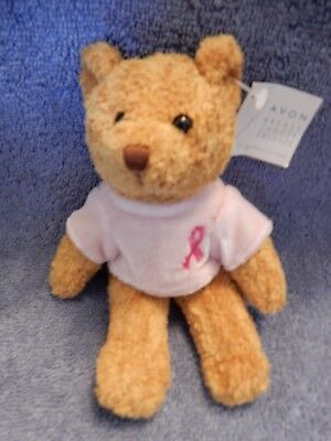 Avon Breast Cancer Bear  Small Looks Great Excellent Condition  Euc